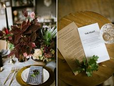 plaid napkins Winter centerpiece. Fall table, winter table setting  Photography   Our Love Is Loud Style   Laurel + Rose Flowers   Lale Floral Designs Venue   Bread Bar + Dram Apothecary