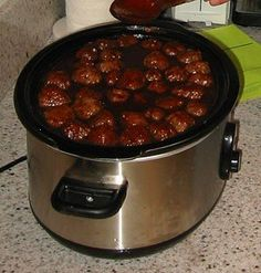 1 jar of grape jelly,1 bottle of ketchup, pack of frozen meatballs-  cook in crockpot for 6 hours : we do this but instead of ketchup, we use one bottle of heinz chili sauce. super yummy!