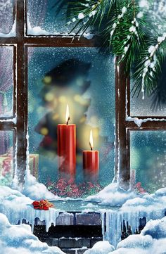 35 craft ideas for window Christmas decorations - Window craft ideas for red Christmas candles - Christmas Scenes, Noel Christmas, Christmas Candles, Vintage Christmas Cards, Christmas Pictures, All Things Christmas, Winter Christmas, Christmas Decorations, Vintage Cards