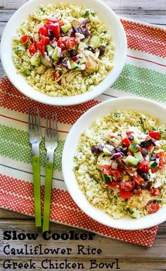 Kalyn's Kitchen®: Slow Cooker Cauliflower Rice Greek Chicken Bowl (Low-Carb, Gluten-Free, Can Be Paleo) Keto Crockpot Recipes, Slow Cooker Recipes, Low Carb Recipes, Whole Food Recipes, Chicken Recipes, Cooking Recipes, Healthy Recipes, Atkins Recipes, Dinner Recipes