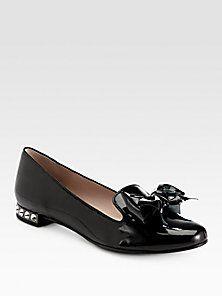 Miu Miu - Jeweled Patent Leather Bow Smoking Slippers