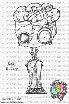 Steampunk Lady Audrey Digital Stamp