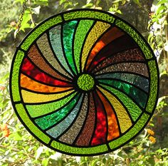 STAINED GLASS PANEL - FOUR SEASONS - SPRING - DECORATIVE ROUNDEL