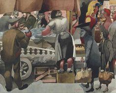 Edward Burra (British, 1905-1976), Fish Stall, Glasgow, 1949. Pencil, watercolour and gouache, 20.2 x 62.2 cm.