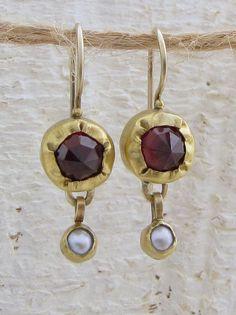 Gold Garnets Earrings24k Gold Garnet & Dangled Pearls by Omiya, $210.00