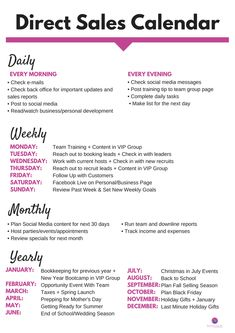 Sales Calendar from Does this look familiar We took the SUPER POPULAR cleaning calendar and creating one FOR YOU for direct sales My GIFT to YOU for 2018 Print this out a. Business Planning, Business Tips, Online Business, Salon Business, Business Management, Direct Selling Business, Business Baby, Serious Business, Small Business Marketing