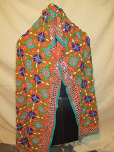 Floral Long Phulkari hand embroidered Indian Dupatta Kantha Scarf Stole Wrap Sha