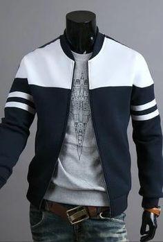 Men's Fashion Ribbon Decoration Stitching Design Jacket