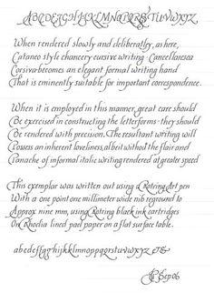 Catnap style Chancery cursive (Italic) writing