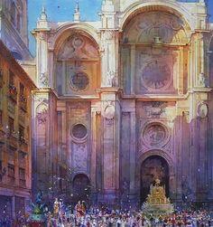 Geoffrey Wynne  - Watercolours - CORPUS CHRISTI EN GRANADA, LA TARASCA.
