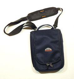 Boyt NAVY BLUE Travel Toiletries Shoulder Hand Bag EUC Luggage Purse Tote Nylon #Boyt