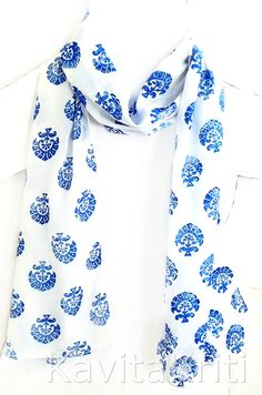 Hand Block printed floral scarf. Silk crepe de chine scarf by KavitaKriti, $48.00  https://www.etsy.com/listing/172400230/block-print-block-print-scarf-hand?ref=shop_home_active
