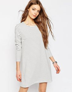 De lækreste ASOS Ponte Swing Dress In Stripe Print ASOS Swing Kjoler til Damer i behagelige materialer