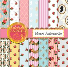 Marie Antoinette digital paper, paris digital paper, french backgrounds, cameo, shabby chic floral, stripe, royal Marie Antoinette. Great for wedding