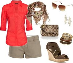 A fashion look from February 2012 featuring red long sleeve top, short shorts and light weight shoes. Browse and shop related looks. Spring Fashion Outfits, Summer Outfits Women, Cute Fashion, Spring Summer Fashion, Fashion Looks, Womens Fashion, Summer Wear, Spring 2014, Style Fashion