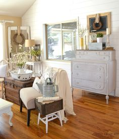 How to Decorate with Vintage Decor.......love that vintage door in the corner!!!!!