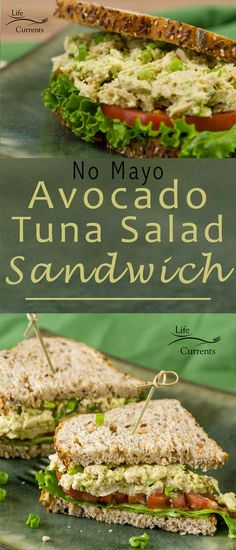Avocado Tuna Salad Sandwich -- With no mayo, you can feel great about eating this heart-healthy yummy treat! Of course, having the most fantastic tuna ever really helps make it amazingly good!