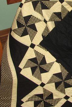 Handmade Black + Yellow check Pinwheel Quilt - 200.00 - Davidson Studio.