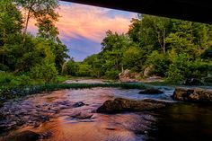 Sunset from Under the Bridge, river, Eno River, State Park, reflections, nature, landscape by PaulCoryPhotography on Etsy https://www.etsy.com/listing/214420640/sunset-from-under-the-bridge-river-eno
