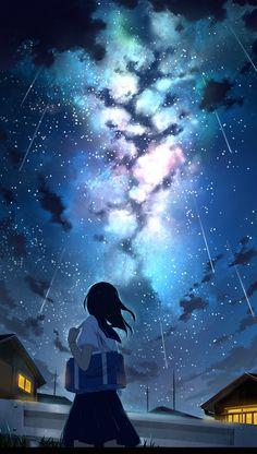 chriskin Sky Anime, Anime Galaxy, Galaxy Art, Anime Scenery Wallpaper, Galaxy Wallpaper, Screen Wallpaper, Wallpaper For Girls, Iphone Wallpaper, Wallpaper Desktop