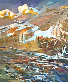 Vermillion Crossing, mixed media with stainless steel painting by Joel Masewich Mountain Paintings, Nature Paintings, Landscape Paintings, Lake Painting, Yellow Painting, Headboard Art, Stainless Steel Paint, Yellow Home Decor, Rose Gold Decor