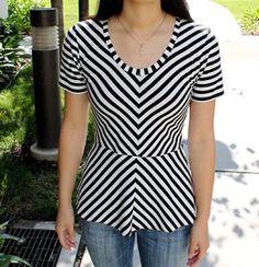 Tutorial: Make a chevron peplum top using a t-shirt pattern · Sewing | CraftGossip.com