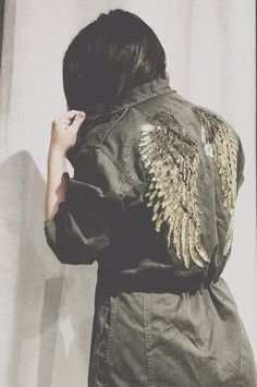 Vintage Boho Military Jacket, hand embellished with Gold Sequin Angel Wings