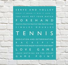 Tennis Sports Decor  Personalized Decor by PaperWallDesign on Etsy