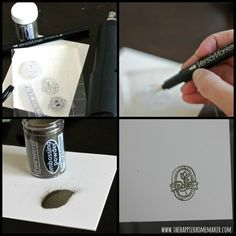 How to use embossing powder: embossed tags Collage