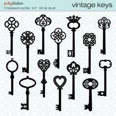Vintage French Clip Art | Vintage Keys clip art 14 black skeleton key by pickychicken, $4.00 ...