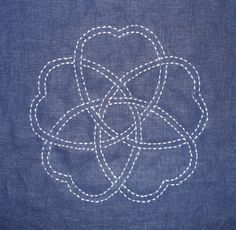 The sakura design from my pattern, San Kamon, done in machine sashiko!