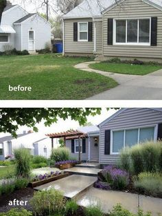 45 Simple And Small Front Yard Landscaping Ideas - front yard landscaping ideas curb appeal Small Front Yards, Small Front Yard Landscaping, Front Yard Design, Modern Landscaping, Backyard Landscaping, Landscaping Ideas, Backyard Ideas, Outdoor Ideas, Outdoor Spaces