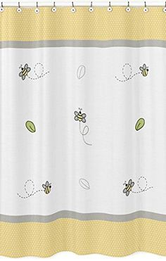 Yellow Gray and White Honey Bumble Bee Bathroom Fabric Bath Shower Curtain >>> You can find out more details at the link of the image.