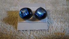 MIDNIGHT BLUE OCEAN DICHROIC GLASS STUD POST EARRINGS   Imaginative_Creations - Jewelry on ArtFire