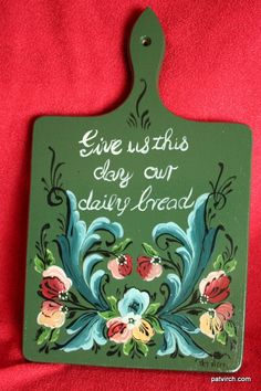 Norwegian Rosemaling Bread Board Hand Painted dark by PatVirch, $30.00