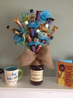 Man Flowers, Father's Day, Hennessey, candy, gift, DIY, man bouquet, man gift, for him, valentines day, anniversary, Christmas, just because, thank you, I love you