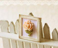Dollhouse Miniature Shabby Chic Pink Framed Rose Decoration   Luulla