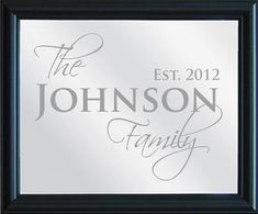 Family Name Sign, Personalized Mirror, etched with Family design, x with decorative blac Diy Wood Signs, Family Name Signs, Stencil Diy, Personalized Signs, Glass Etching, Glass Signs, Indian Weddings, Mirror, Unique Jewelry