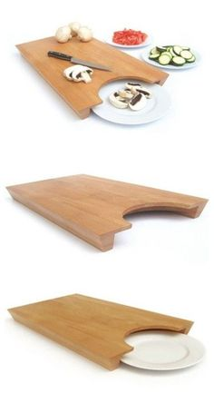This cleverly designed chopping board helps you move chopped food to a plate quickly and effortlessly. #kitchen #design