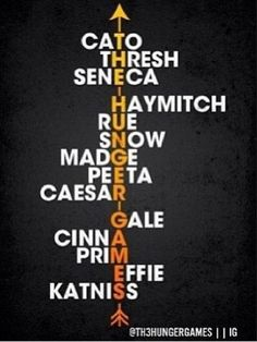 THE HUNGER GAMES/ caTo, tHresh, senEca- Haymitch, sNow, madGe, peEta, caesaR- Gale, cinnA, Effie, katniSs