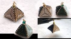 Beading4perfectionists : 3D Beaded pyramid pendant or earrings. Triangle & RAW beading tutorial
