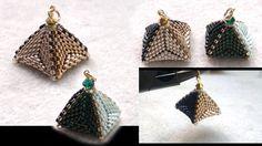 : Beaded pyramid pendant or earrings. Triangle & RAW beading tutorial - : Beaded pyramid pendant or earrings. Triangle… : Beaded pyramid pendant or earrings. Seed Bead Jewelry, Seed Bead Earrings, Beaded Jewelry, Peyote Triangle, 3d Triangle, Beading Patterns Free, Jewelry Patterns, Beading Projects, Beading Tutorials