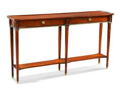 Long narrow console table simple design wood console table with two drawer