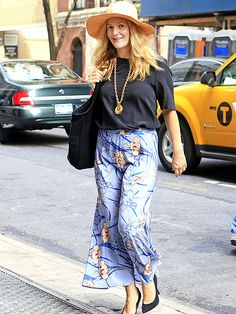 maxi skirt, tee, pendant necklace, and wide brim hat