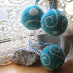 Christmas Ornaments - Three Robin Egg Blue and White Swirls - Needle Felted Christmas Ornaments. $21.50, via Etsy.
