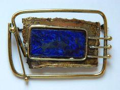 Bronze Artsy Brooch With Blue Enamel on eBay