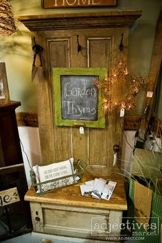 hall tree bench old door | Hall tree made from antique door by Anna Bananas at ... | Home Sweet ...