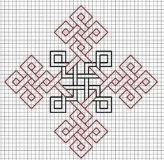 Black-and-Redwork Celtic cross design Blackwork Patterns, Celtic Patterns, Zentangle Patterns, Cross Stitch Patterns, Quilt Patterns, Kasuti Embroidery, Embroidery Stitches, Embroidery Patterns, Graph Paper Drawings