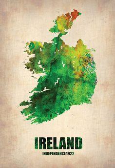 Ireland Watercolor Map Educational Poster