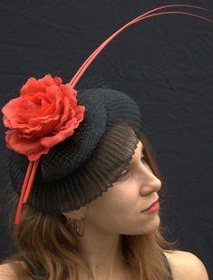 Rose Pill Box  Fascinator Hat, Straw